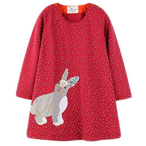 Cotton Jersey Pink Dot (Frogwill Girls Long Sleeve Casual Dress Dots Heart Printed Jersey Top 2-7Y (6T, Bunny))