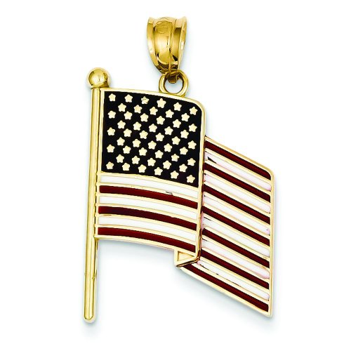 14K Gold red White & Blue Enamel American Flag Pendant