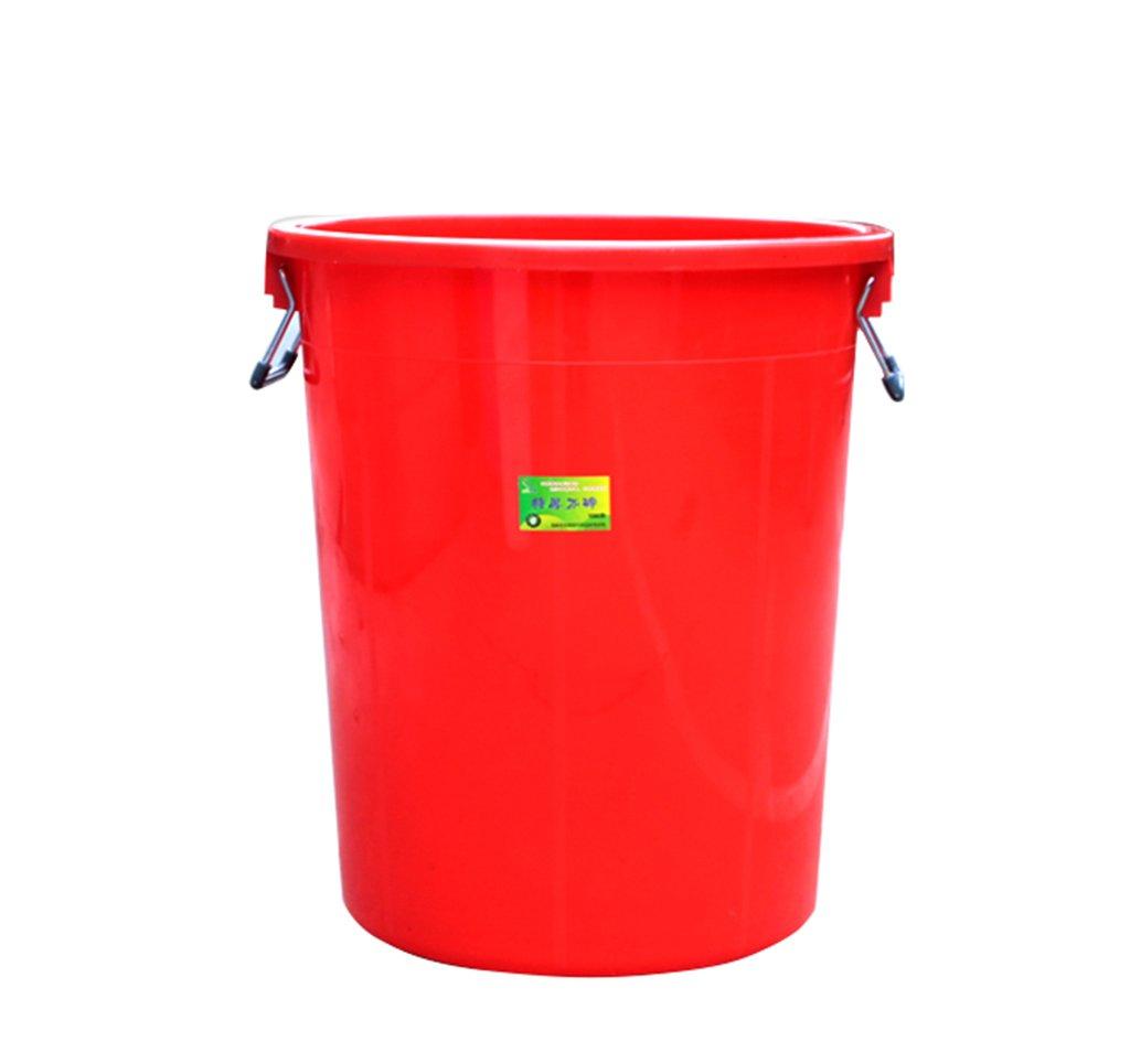 TGG 衛生ゴミ箱、大きなプラスチック円形ゴミ箱ホテルキッチン産業特性大容量覆われた厚い貯蔵バケツ100L 清潔できちんと (色 : 赤) B07DKBMPXW 11299 赤 赤