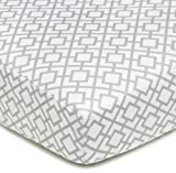 American Baby Company 100-Percent Cotton Percale Fitted Crib Sheet, Gray Lattice