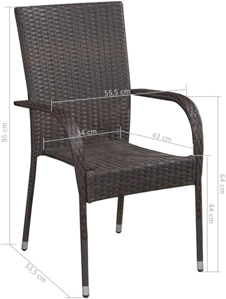 vidaXL 2X Chaise d'Extérieur Empilable Résine Tressée Marron Chaise de Jardin