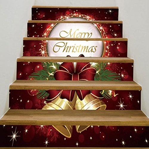 Merry Christmas Tree Snowman Tile Pattern Stair Stickers Self-adhesive DIY Removable Wall Decals 6pcs/set (Bell, LxW=100x18cm/39.3x7.0 in)