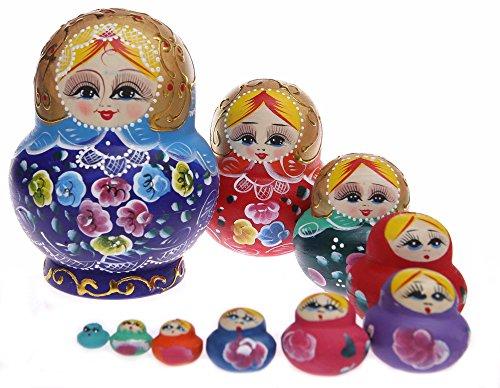 Moonmo 10pcs Beautiful Handmade Wooden Russia Nesting Dolls Gift Russian Nesting Wishing Dolls Colorful Flower Matryoshka Traditional. -
