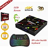 [Free Colorful backlight keyboard] TV box, 4G 64G H96 MAX Smart 4K TV Box Android 7.1 RK3328 Quad Core Compatible con 3D 4K (60Hz) Full HD/H.265/Dual WiFi BT 4.1 Reproductor multimedia inteligente