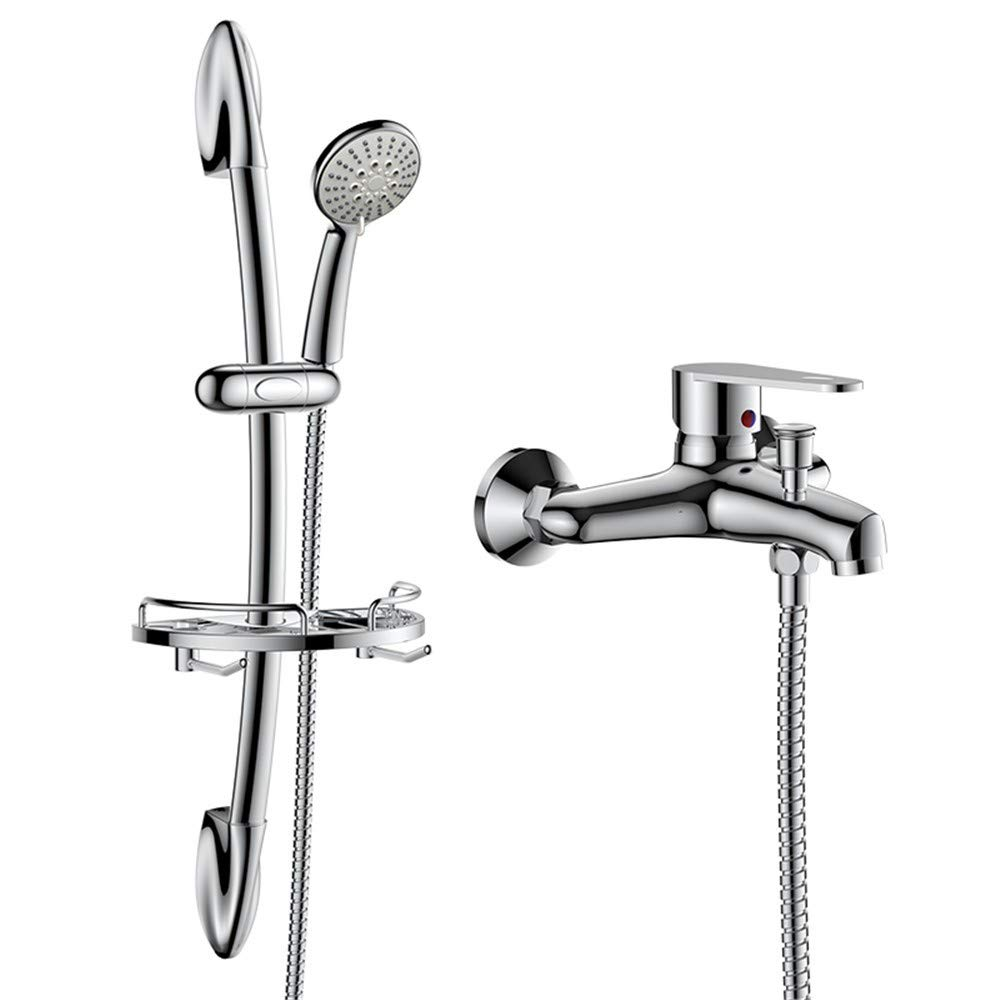 Curved Rod - Set BEIQIHHY Bathroom faucet shower set booster nozzle bathtub copper, straight rod type - suit
