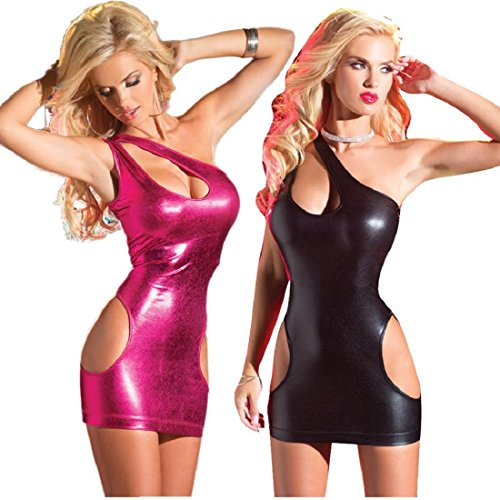 GONKOMA Womens Patent Leather Lingerie Elastic Mini Strapless Dress Clubwear