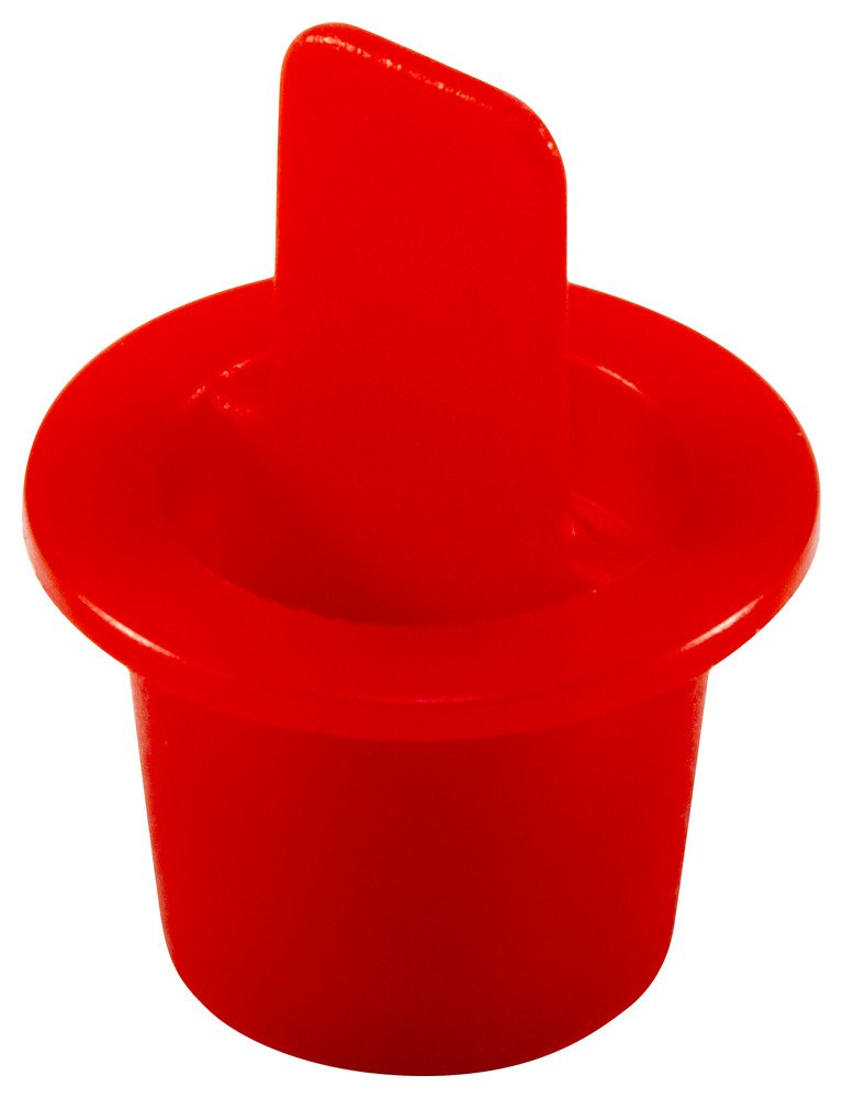 Caplugs ZCPT3Q1 Plastic Center Pull Tab Tapered Plug. CPT-3, PE-LD, Cap OD 0.56'' Plug ID 0.428'', Red (Pack of 100)