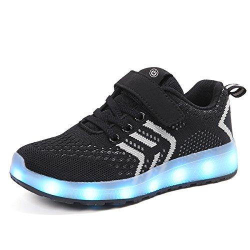 DoGeek Scarpe LED bambini Bambina 7 Colore USB Carica Sneakers di Luci Scarpe Unisex Bambino Scarpe con Luci nella Suola Bright Tennis Shoes Design 2018 Nero