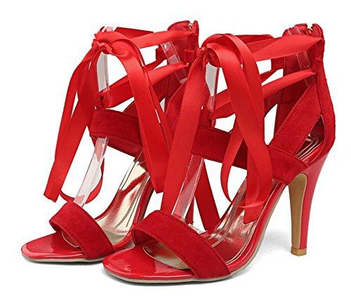 Aisun Donna Strappy Sexy Open Toe Dress Up Zip Cravatta Stiletto Tacco Alto Sandali Con Cinturino Alla Caviglia Con Cerniera Rossa