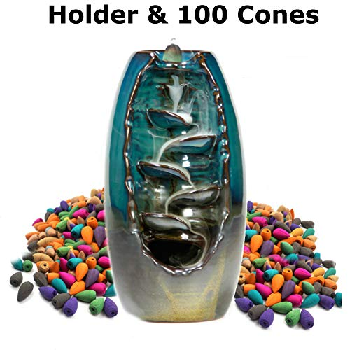 STRITE Ceramic Waterfall Backflow Incense Burner, Includes 100 Incense Cones - Back Flow Mountain Incense Holder with Dragon Smoke Fountain Effect - Home Decor Aromatherapy Ornament