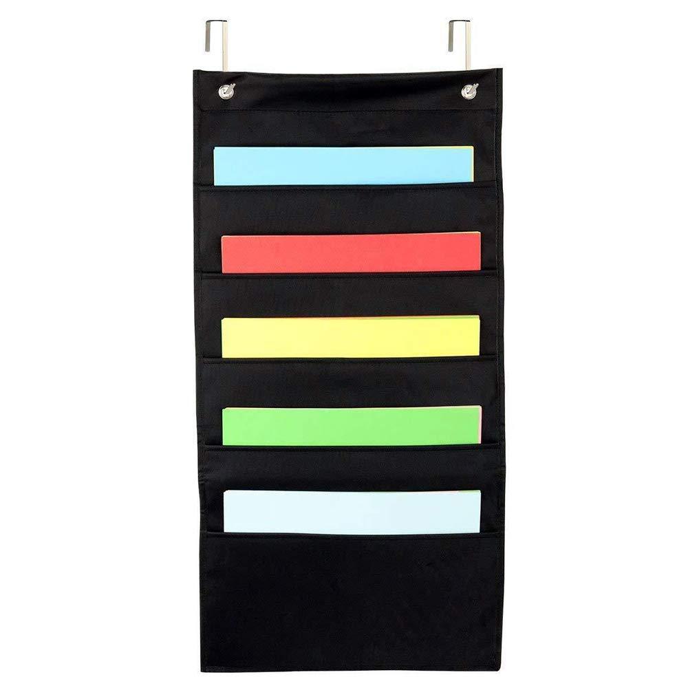 Hottong Wall Mount Hanging File Folders Cascading Fabric Organizer, Black Home School Office Classroom Filing Storage, 28x14, 5 Pocket 28x14