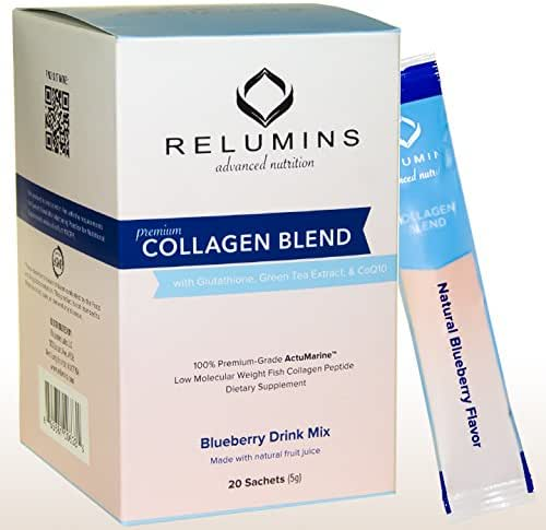 Relumins Premium Collagen Blend Powder Drink Mix - 20 Sachets - 100% Premium-Grade ActuMarine Collagen with Glutathione, Green Tea Extract and CoQ10 (Blueberry)