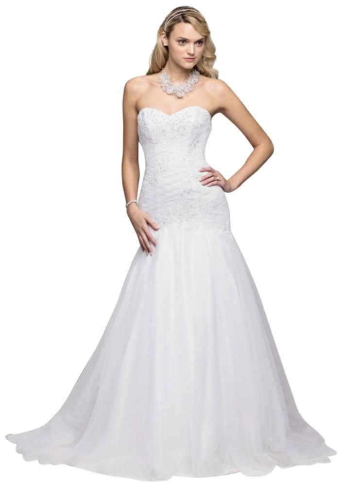 David's Bridal Sample: Trumpet Beaded Applique Gown Style AI10030379, White, 4 by David's Bridal