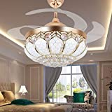 Tipton Light Ceiling Fans 42 Inch 4 Retractable Blades LED Ceiling Fan Crystal Chandelier with Remote Control has Three Change Colors White Light,Warm Light,White Warm Light-Gold (42 inch, golden)