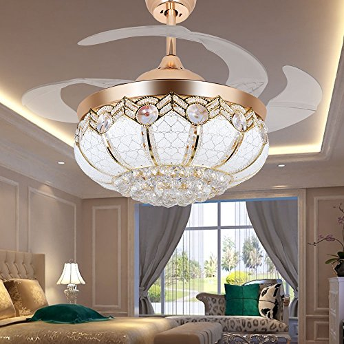 Tipton Light Ceiling Fans 42 Inch 4 Retractable Blades LED Ceiling Fan Crystal Chandelier with Remote Control has Three Change Colors White Light,Warm Light,White Warm Light-Gold (42 inch, golden) by Tipton Light (Image #6)