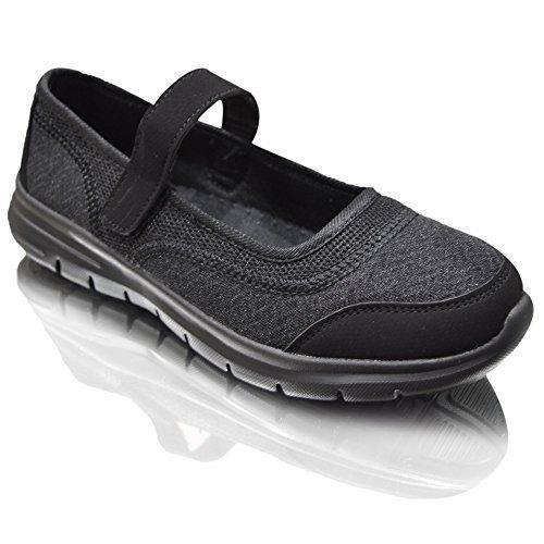 Air Tech Mujeres Trainer Slip On Pumps zapato Tiempo Libre Guantes Tamaño negro/velcro