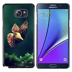 EJOOY---Cubierta de la caja de protección para la piel dura ** Samsung Galaxy Note 5 5th N9200 ** --Mariposa de Primavera de la mañana Verde Naturaleza