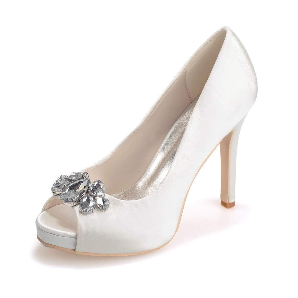 Zxstz Dames Peep Toe Pompes de Mariage soirée Robe Chaussures de soirée Mariage soirée balançoire Plate-Forme Sandales à Talons Classiques 37|Ivoire 6c79c7