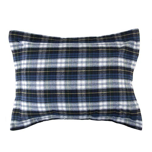 Sleeping Partners Plaid Flannel Pillow Sham, Blue from Sleeping Partners