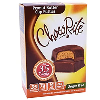 ChocoRite - High Protein Diet Bar | Peanut Butter Cup Patties | Low Calorie, Low Fat, Sugar Free, (5/Box)