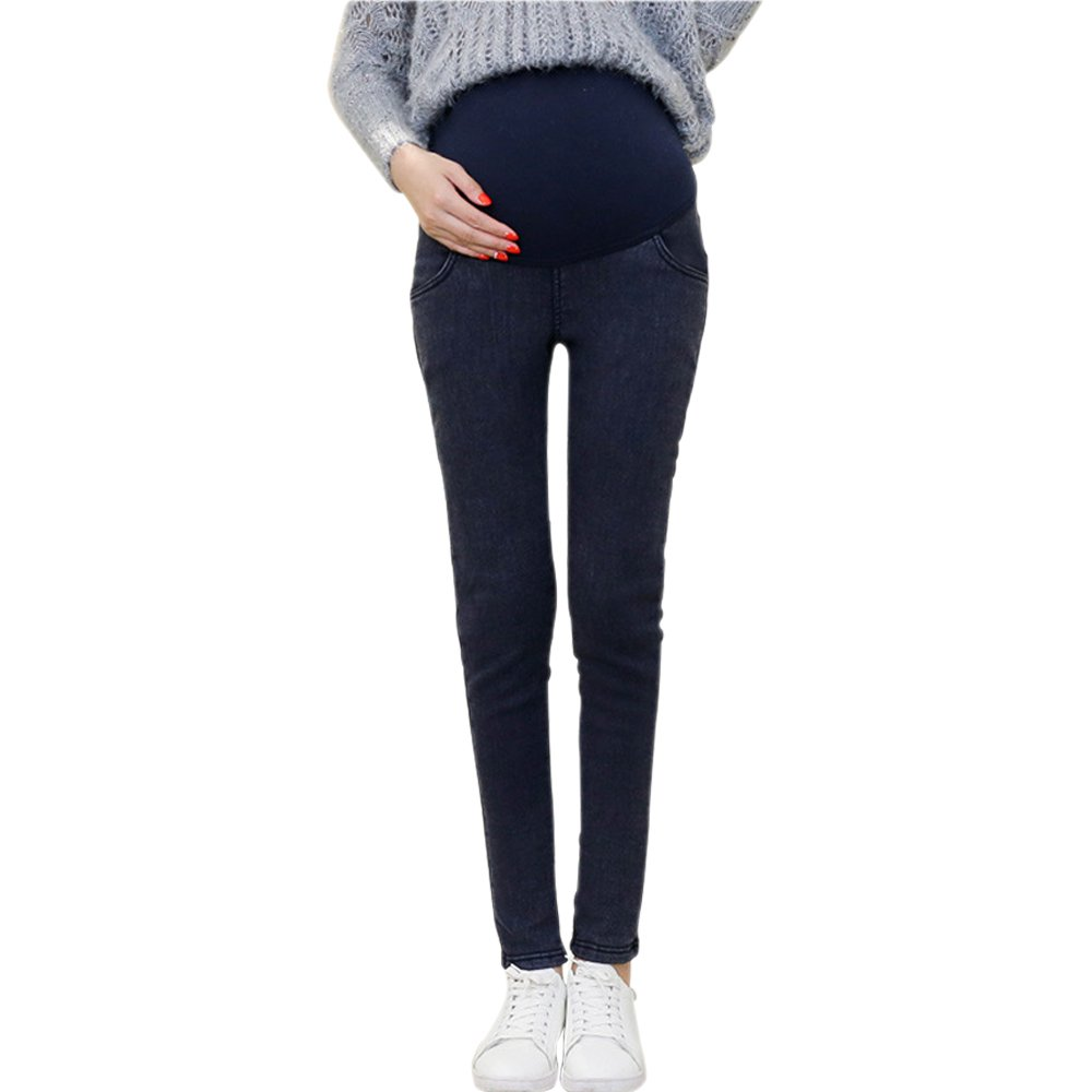 KINDOYO Autumn High-Waist Stretch Gold Velvet Warm Jeans Pregnant Women Leggings