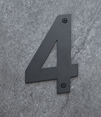 Luxe Trim 12 inch Black Steel House Numbers with Screws 0, Black Powder Coated - Made in Canada