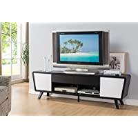 74 Smart Home Alexa Contemporary TV Stand Home Entertainment System Collection (Black / Glossy White)