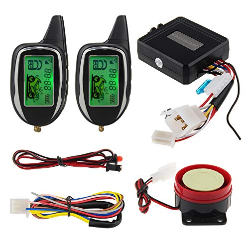 EASYGUARD 2 Way LCD Display Motorcycle Alarm System with Remote Engine Start Motion Sensor & Built in Shock Sensor DC12V EM208-2