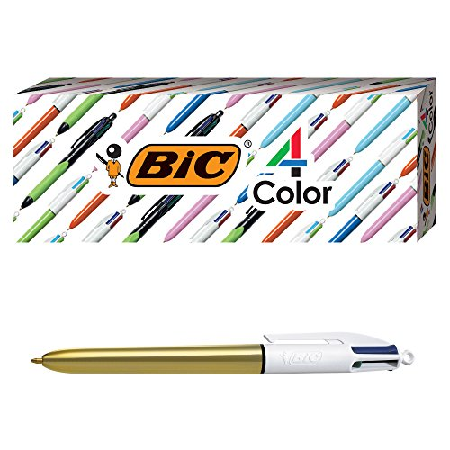 (BIC 4-Color Shine Ballpoint Pen, Gold Barrel, Medium Point (1.0mm), Assorted Inks, 3-Count )