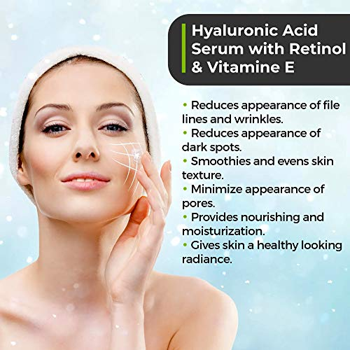51hJb 6zs3L - Anti Aging Hyaluronic Acid and Retinol Serum 2.5% for Face with Vitamin E For Oily Acne Skin - Best Retinol Facial Moisturizer - Reduce Fine Lines - Wrinkle - Dark Spots - Pure Organic Ingredients