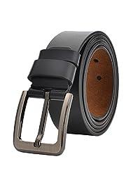Cinturón de Piel Genuina Para Hombre 110 cm-175 cm Regular & Hombres Grandes y Altos Estilo Trinity para Vaqueros, Caqui, Vestido, Hebilla Plateada,38 mm