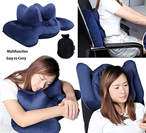 Office Nap Pillow Travel Pillow Inflatable Pillow Waist Pillow Lumbar Support Back Cushion Pillow Office Chair and Car Airplanes (Return Labels For My Orders)
