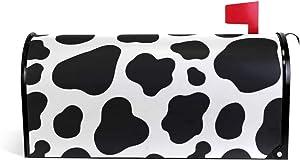 BETTKEN Magnetic Mailbox Cover, Cow White Black Spot Pattern Mailbox Wrap Home Decor Art Post Letter Box Cover