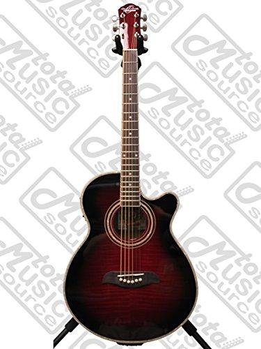 (Oscar Schmidt OG10CE Cutaway Acoustic-Electric Guitar - Flame Transparent Purple)