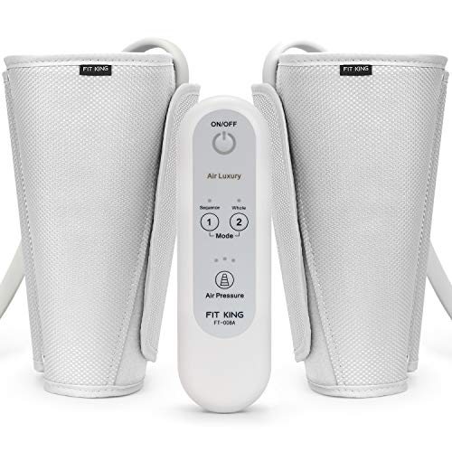(FIT KING Leg Air Massager for Circulation Sequential Compression Wraps Massager with Handheld Controller 2 Modes 3 Intensities)