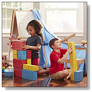 Melissa & Doug Deluxe Jumbo Cardboard Blocks, Developmental Toy, Extra-Thick Cardboard Construction, 40 Pieces, 12.5? H ? 7? W ? 19? L