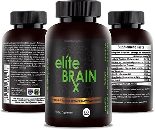All Natural Brain Supplement – Increases Clarity, Improves Memory & Mood, Boosts Focus & Intelligence - Scientifically Formulated Nootropic for Cognitive Enhancement - Ginkgo Biloba - Elite BrainRx