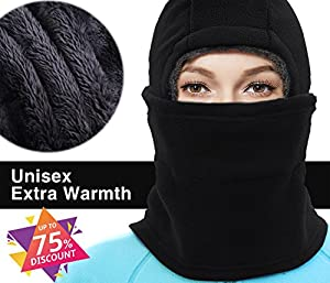 X-CHENG Balaclava Ski Mask - Cold Weather Face Mask Motorcycle Neck Warmer or Tactical Balaclava Hood - Plus Velvet - Ultimate Thermal retention In The Outdoors Super - Anti-Sensitive(Black) (Black)