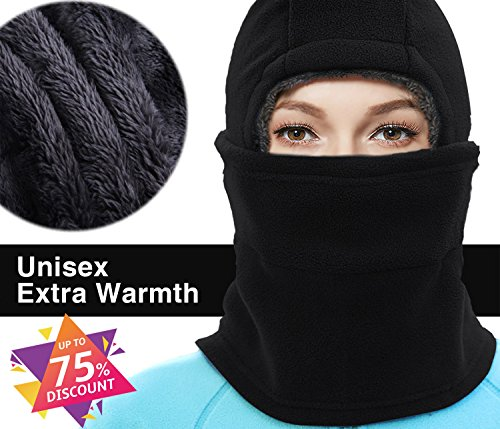 The Best Halloween Masks (X-CHENG Balaclava Ski Mask - Cold Weather Face Mask Motorcycle Neck Warmer or Tactical Balaclava Hood - Plus Velvet - Ultimate Thermal retention In The Outdoors Super - Anti-Sensitive(Black) (Black))