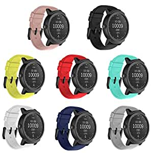 TECKMICO 8PCS Ticwatch E Bands,20mm Silicone Smart Watch Replacement Bands for Ticwatch E/Ticwatch 2/Vivoactive 3 Watch with Quick Release, 8-Colors Pack, Buckle Design