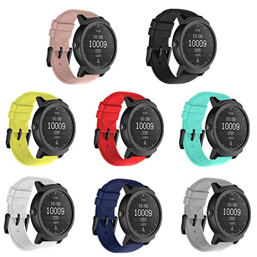 TECKMICO 8PCS Ticwatch E Bands,20mm Silicone Smart Watch Replacement Bands for Ticwatch E/Ticwatch 2/Vivoactive 3 Watch with Quick Release (8-Colors Pack, Buckle Design)