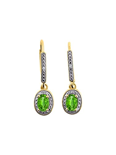 f3064a5f194f8d Image Unavailable. Image not available for. Color: Diamond & Peridot  Earrings in 14K Yellow Gold ...