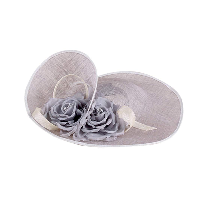Fascinators Hat for ❣Women Grey Elegant Linen Solid Color Top Hats
