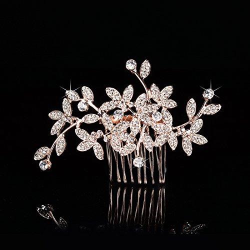 usongs Korean bridal headdress flower diamond luxury diamond pearl hair plug comb hair accessories wedding bridesmaid accessories by usongs (Image #5)