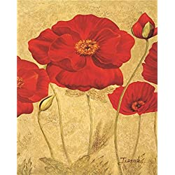Oil Painting 'Red Flowers' Printing On Perfect Effect Canvas , 24x30 Inch / 61x76 Cm ,the Best Gym Decoration And Home Decor And Gifts Is This Cheap But High Quality Art Decorative Art Decorative Prints On Canvas