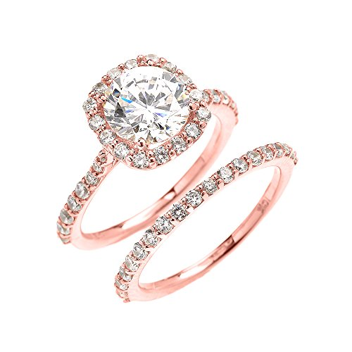 10k Rose Gold 3 Carat CZ Solitaire Halo Proposal Engagement And Wedding Ring Set (Size 10)