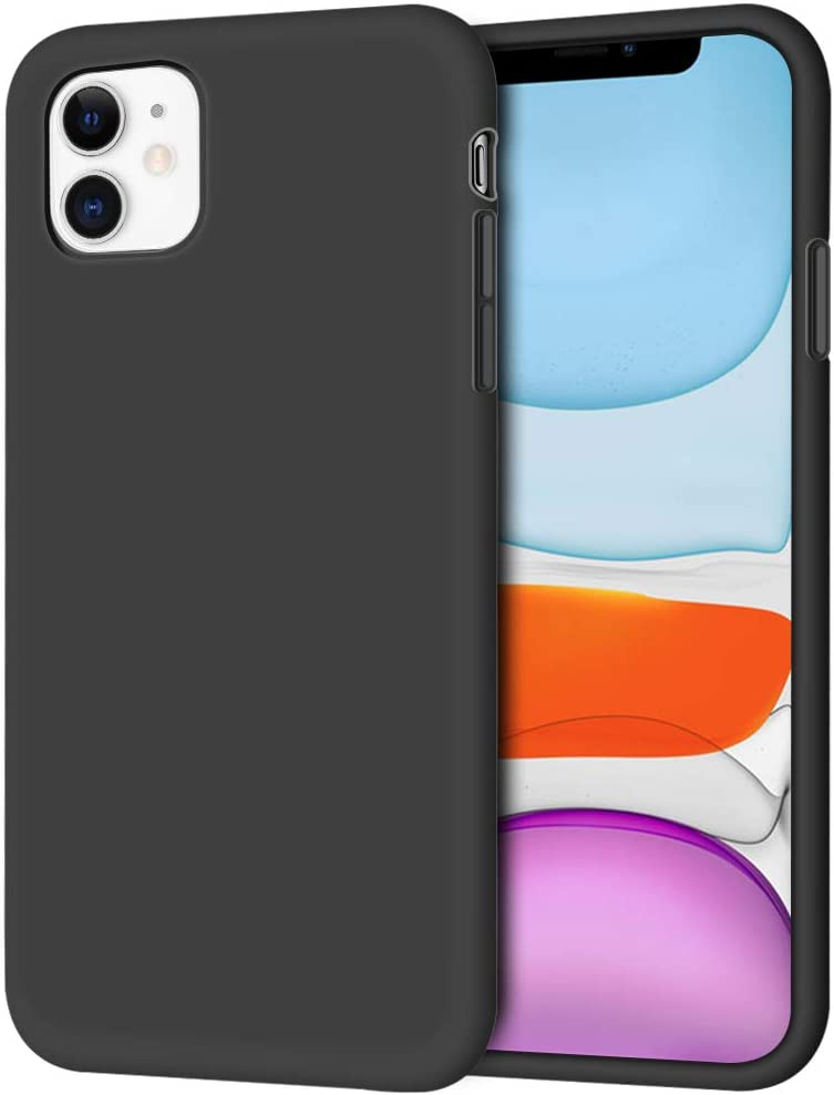 """iPhone 11 Case, Anuck Non-Slip Silicone Gel Rubber Bumper Case with Soft Microfiber Lining Cushion Hard Shell Shockproof Full-Body Protective Case Cover for Apple iPhone 11 6.1"""" 2019 - Black"""