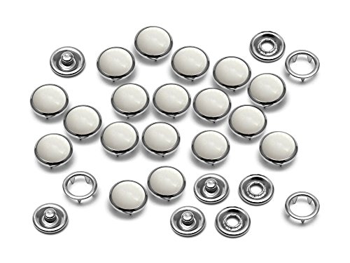 CRAFTMEmore 20SETS 10MM WHITE Fashion Pearl Snaps Fasteners for Western Shirt Clothes Popper Studs (White)