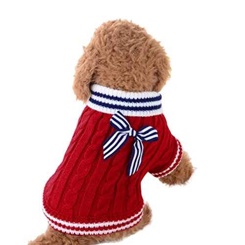 Anshinto Cute Pet Dog Knitwear Sweater Puppy Cat Winter Warm Clothes Striped Coat Apparel (Red, M)