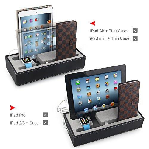 Hapurs Apple Watch Charging Stand Cradle-Halter u Iphone iPad Ladestation Iphone iPad Ladestation Multi-Geräte-Charging Dock & Desktop Organizer für Smartphones & Tablets (Schwarz)